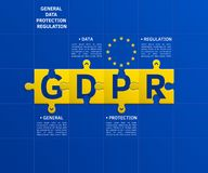 General Data Protection Regulation GDPR. Letters on puzzle pieces connected together. Concept illustration. Vector. General Data Protection Regulation GDPR Stock Image