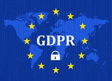General Data Protection Regulation (GDPR) with padlock against the background of the Earth map Vector illustration.  vector illustration