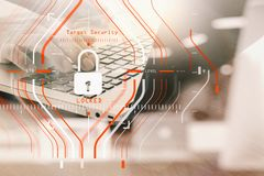 General Data Protection Regulation (GDPR) and Security concept.C. Omputer Halogram target protection locked with success on business finance working and Royalty Free Stock Photos