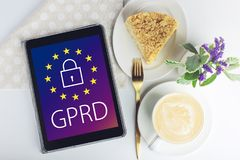 General Data Protection Regulation GDPR . The text with the EU flag depicted on tablet. General Data Protection Regulation GDPR . The text with the EU flag Stock Photos