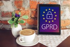General Data Protection Regulation GDPR . The text with the EU flag depicted on tablet. General Data Protection Regulation GDPR . The text with the EU flag Royalty Free Stock Photography