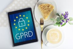 General Data Protection Regulation GDPR . The text with the EU flag depicted on tablet. General Data Protection Regulation GDPR . The text with the EU flag royalty free stock photos