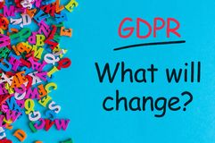 General Data Protection Regulation GDPR - What will change, Data Protection Concept. Text on blue background with many Royalty Free Stock Image