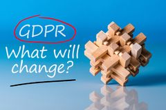 General Data Protection Regulation GDPR - What will change, Data Protection Concept. Text on blue background with wooden Royalty Free Stock Image
