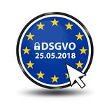 General Data Protection Regulation German Mutation: Datenschutz Grundverordnung DSGVO. Web Button With Security Lock And Mouse Arrow royalty free illustration