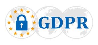 General Data Protection Regulation sign on globes. Datenschutz Grundverordnung DSGVO - vector. General Data Protection Regulation sign on globes. Datenschutz stock illustration