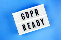 General Data Protection Regulation. Text GDPR ready Royalty Free Stock Photos