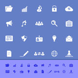 General document color icons on blue background Stock Image