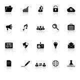 General document icons with reflect on white backg. Round, stock vector Royalty Free Stock Images