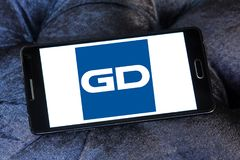 General Dynamics Corporation logo. Logo of General Dynamics Corporation on samsung mobile. General Dynamics Corporation is an American aerospace and defense Royalty Free Stock Photography