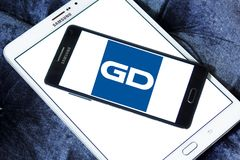General Dynamics Corporation logo. Logo of General Dynamics Corporation on samsung mobile. General Dynamics Corporation is an American aerospace and defense Stock Image