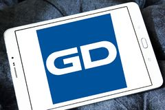 General Dynamics Corporation logo. Logo of General Dynamics Corporation on samsung tablet . General Dynamics Corporation is an American aerospace and defense Royalty Free Stock Images