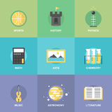 General education subjects flat icons Royalty Free Stock Images