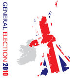General election british white. UK election with british flag and map of britian outline Stock Images