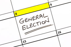 General Election Date on a Calendar Stock Photos