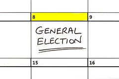General Election Date Highlighted on a Calendar Royalty Free Stock Photo