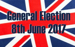 General Election 8th June 2017 on UK flag. Royalty Free Stock Photos