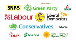 General Election UK Parliamentary Political Party Logos Tag Cloud. Political Parties Logos for England, Scotland, Wales and Northern Ireland. Vector available