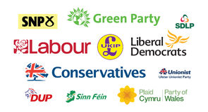 General Election UK Parliamentary Political Party Logos Tag Cloud Royalty Free Stock Photography