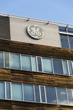 General Electric company logo on the headquarters building on February 5, 2017 in Prague, Czech republic. Stock Images