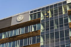 General Electric company logo on the headquarters building on February 5, 2017 in Prague, Czech republic. Royalty Free Stock Image