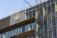 General Electric company logo on the headquarters building on February 5, 2017 in Prague, Czech republic. Royalty Free Stock Photos