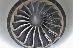 Jet engine. Wide chord carbon fibre composite engine fan of the General Electric GEnx turbofan on the Boeing 787 Dreamliner (Fan diameter: 111 inches Royalty Free Stock Photography