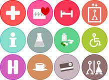 General flat medical health icons for hospital. 12 icons to guide you through hospital, medical centre or information Stock Images