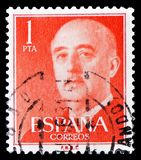 General Franco V 1955-1975, serie, circa 1960. MOSCOW, RUSSIA - FEBRUARY 14, 2019: A stamp printed in Spain shows General Franco V 1955-1975, serie, circa 1960 royalty free stock photo