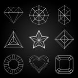 General gem shape icons on dark background Royalty Free Stock Photography