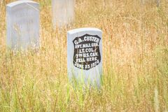 Little Bighorn Battlefield National Monument, MONTANA, USA - JULY 18, 2017: General George Armstrong Custer headstone. Last Stand Royalty Free Stock Image
