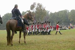 General George Washington salutes British column as they pass at the 225th Anniversary of the Victory at Yorktown, a reenactment o Stock Image