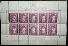 General Government 1943 Copernicus sheet stamps Royalty Free Stock Photos