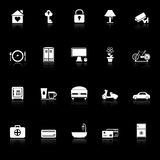 General home stay icons with reflect on black background Royalty Free Stock Photos