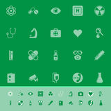 General hospital color icons on green background Stock Images