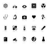 General hospital icons with reflect on white backg Royalty Free Stock Images