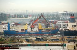 General industrial view of American port. Economic import and export activity at busy sea port Stock Photos