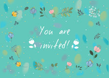 General invitation. You are invited. Floral card Royalty Free Stock Images