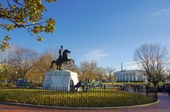 General Jackson Statue in front of the White House Stock Images