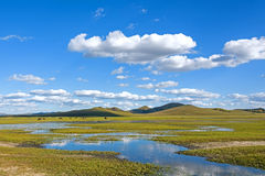 The general Lake in WulanBu all grassland ancient battlefield stock photo