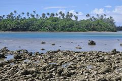 Landscape view of Ngatangila Harbour in Rarotonga Cook Islands Royalty Free Stock Photography