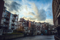 General landscape views from city brige in channels & residential buildings of Amsterdam. Royalty Free Stock Photos