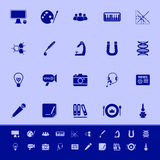 General learning color icons on blue background Royalty Free Stock Images