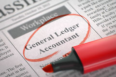 General Ledger Accountant Hiring Now. 3D. Stock Photography