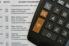 General Ledger and Calculator royalty free stock photos