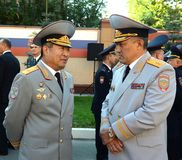 The General-the Lieutenant of police Yury Valyayev and the General-the major of police Timothy Pan. MOSCOW, RUSSIA - SEPTEMBER 6, 2014:The General-the Stock Photography