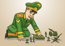 General. General likes to play with war toys royalty free illustration