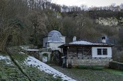 General look close up of Demir Baba Teke, cult monument honored by both Christians and Muslims in winter near Sveshtari village. Municipality Isperih, Razgrad stock photo
