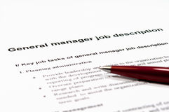 General Manager Job Description Royalty Free Stock Photos