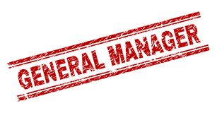 Scratched Textured GENERAL MANAGER Stamp Seal royalty free illustration